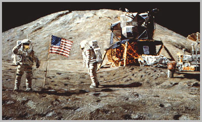 Dave Scott salutes the U.S. flag while Jim Irwin watches.