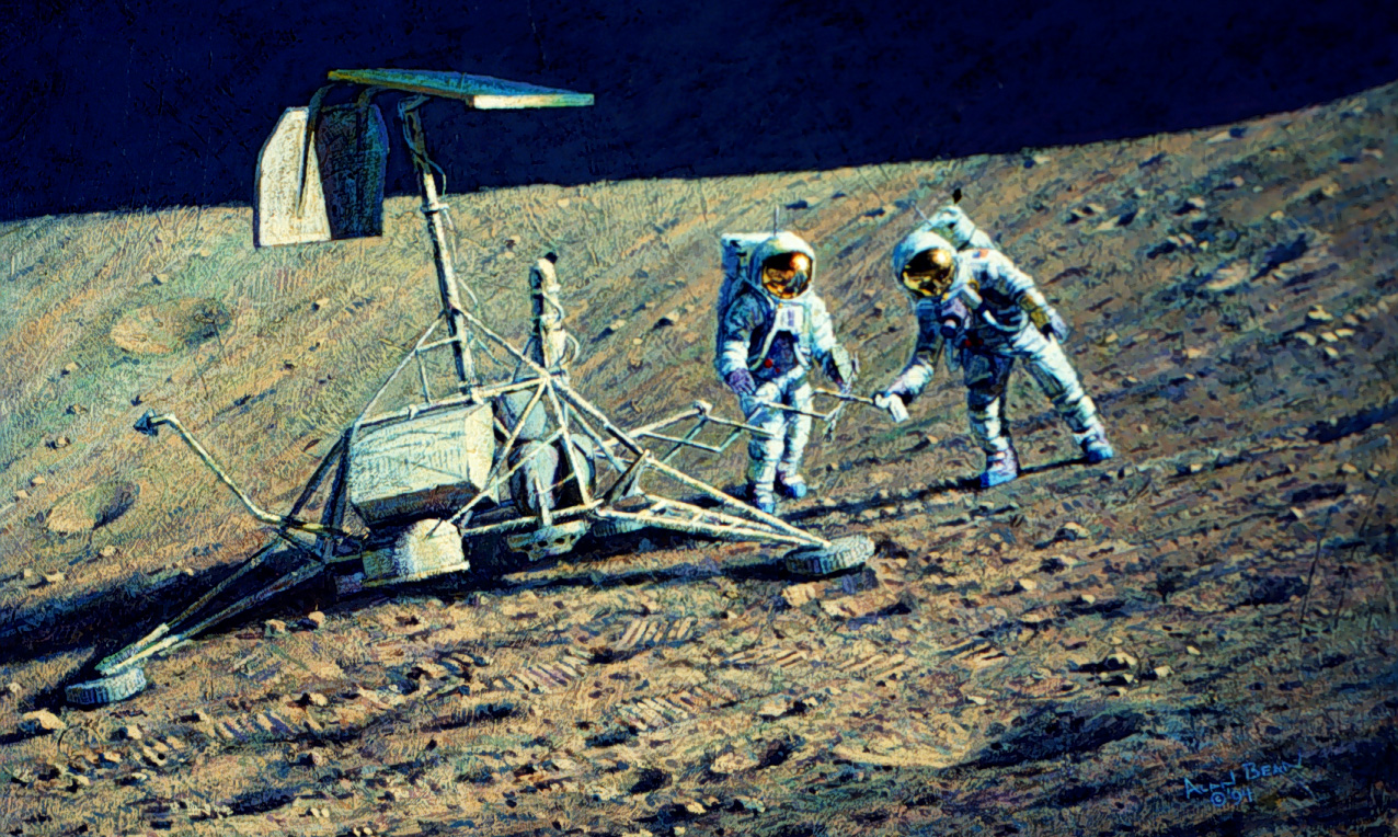 Conrad and Bean Examine Surveyor III, which is sitting part way down the inner slope of a crater 200 meters in diameter