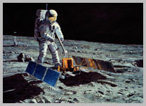 Buzz Aldrin aligns the solar-powered seismic instrument