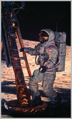 Al Bean with his right hand on the ladder, his right foot in the footpad and his left foot on the lunar surface