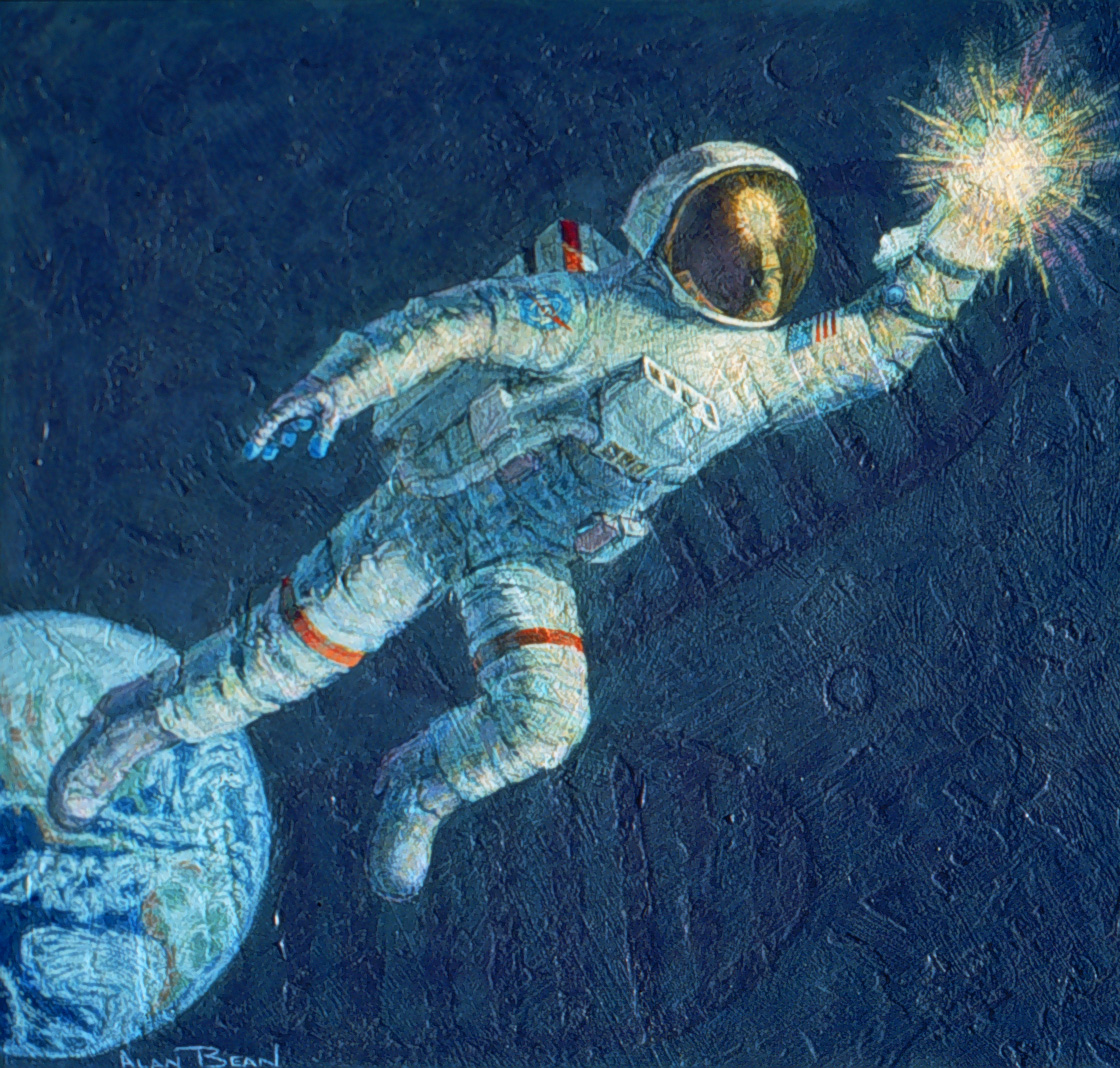 A floating astronaut, with Earth beneath his feet, grasps a point of light