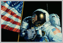 Alan Bean salutes, with the flag reflected in his visor