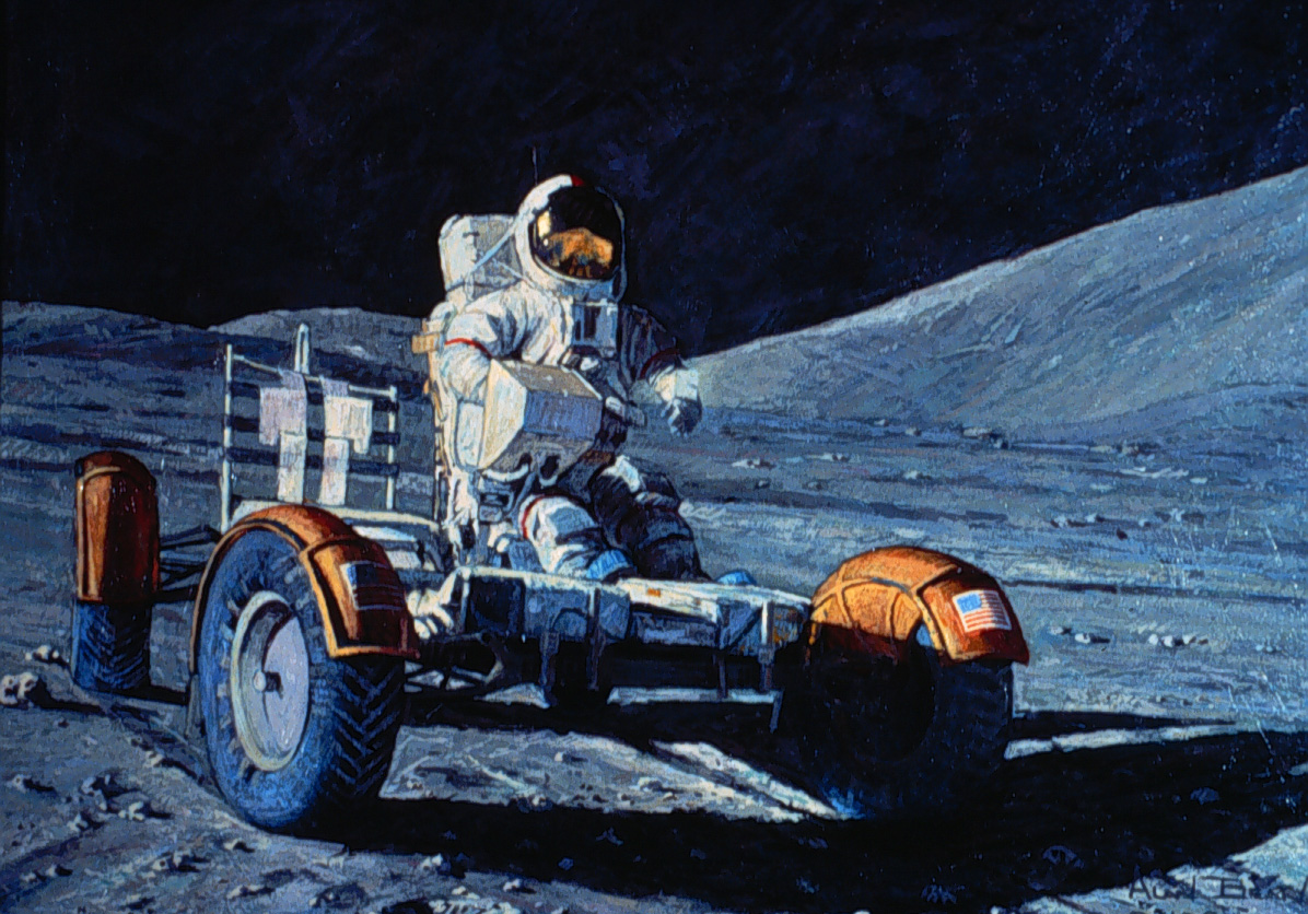 Cernan driving the rover prior to installation of the TV and TV control boxes at the front, and all the geology equipment at the back