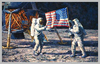 Apollo 11 crew erects flag