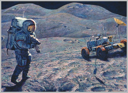 Dave Scott on the slope of Mount Hadley Delta with rover in the background